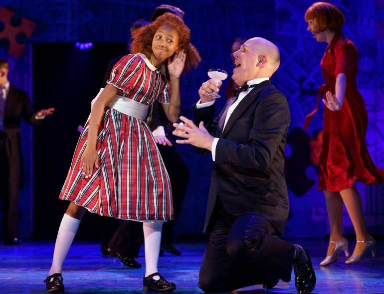 10. ANNIE. Faye Katsande 'Annie' and Alex Bourne 'Oliver Warbucks'. Photo Paul Coltas